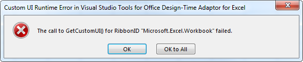 Resolve the getcustomui for ribbonid microsoft excel - Visual studio tools for office runtime ...